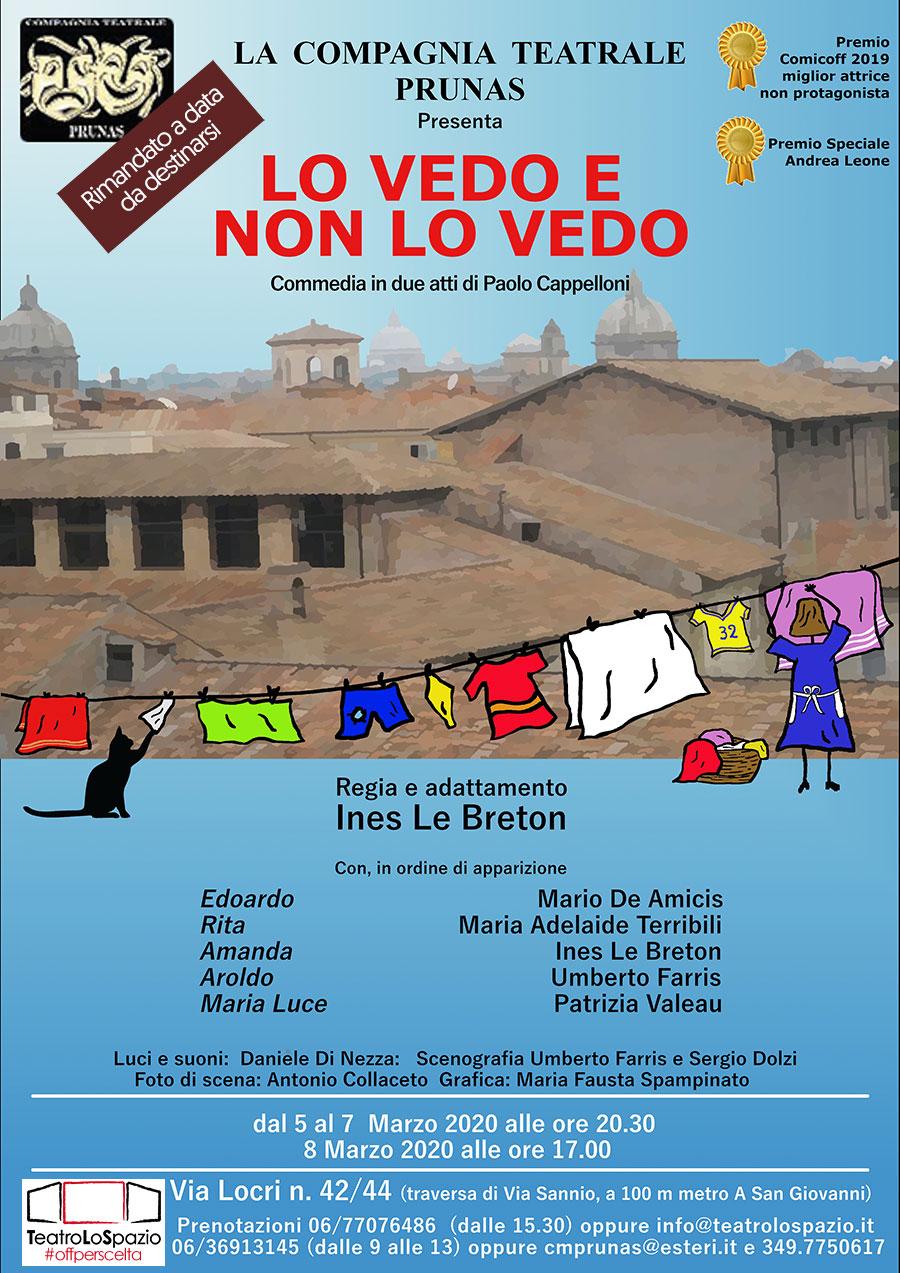 Lo Vedo e non lo Vedo - TeatroLoSpazio - dal 5 all'8 marzo 2020 - Via Locri 42 00183 Roma